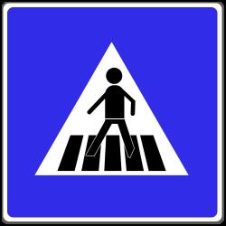 Ein Zebrastreifen wird durch dieses Verkehrsschild gekennzeichnet.